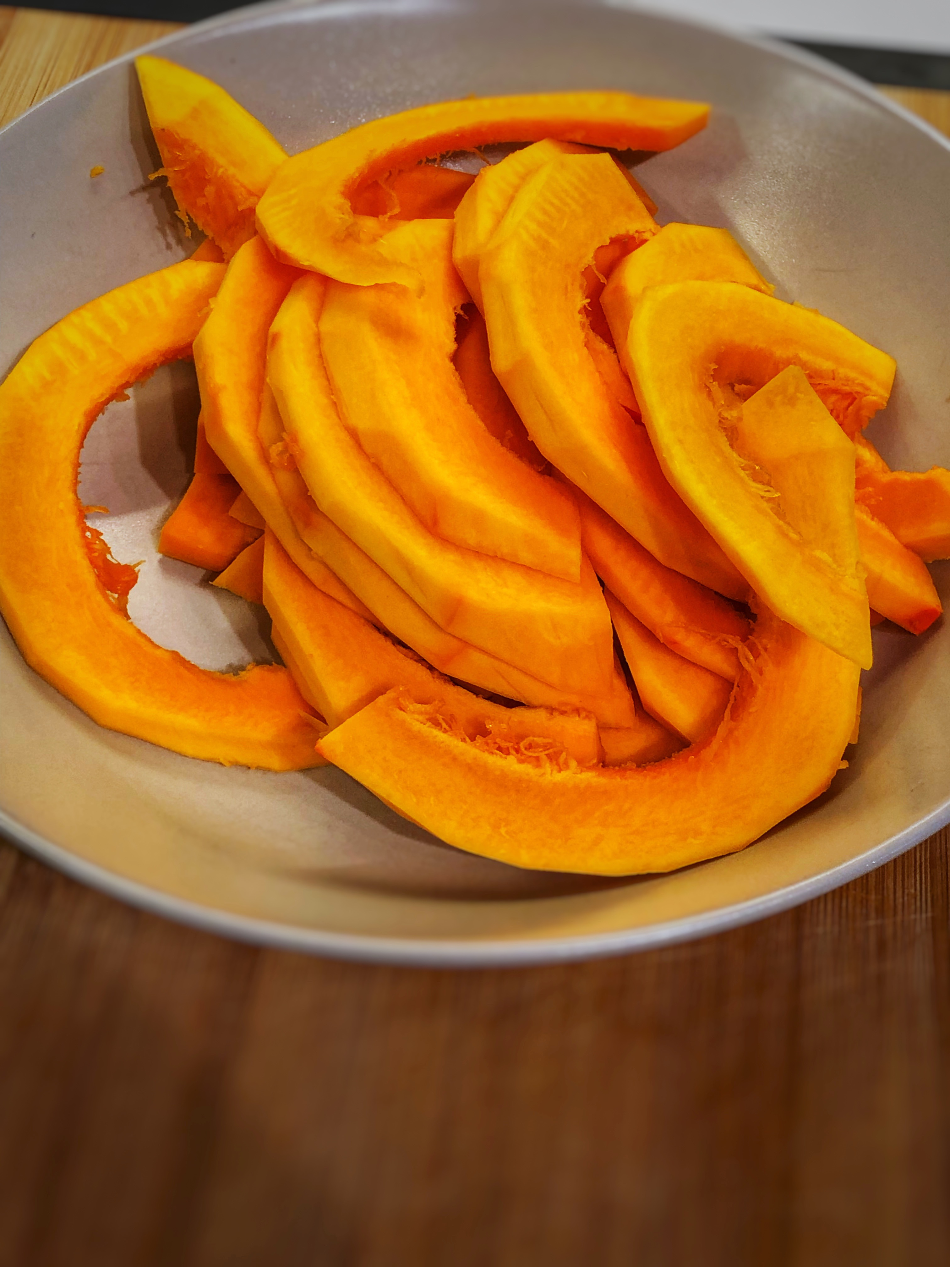 Hokkaido pumpkin cut to fries