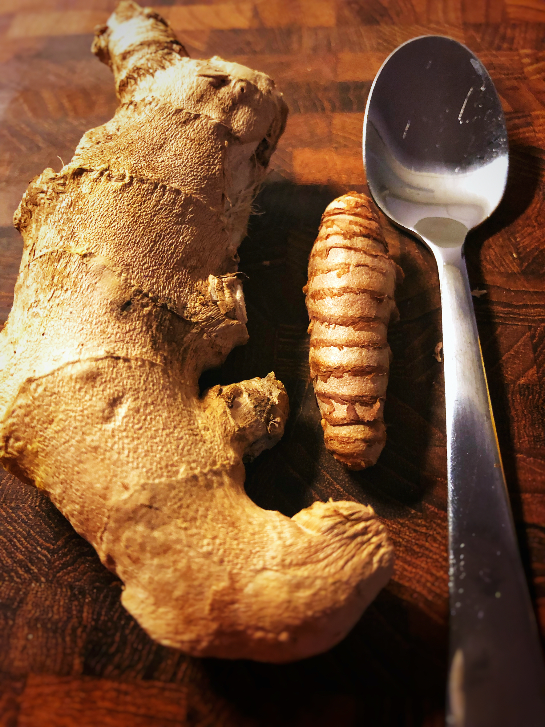 Ginger and Turmeric. Use a spoon to peal