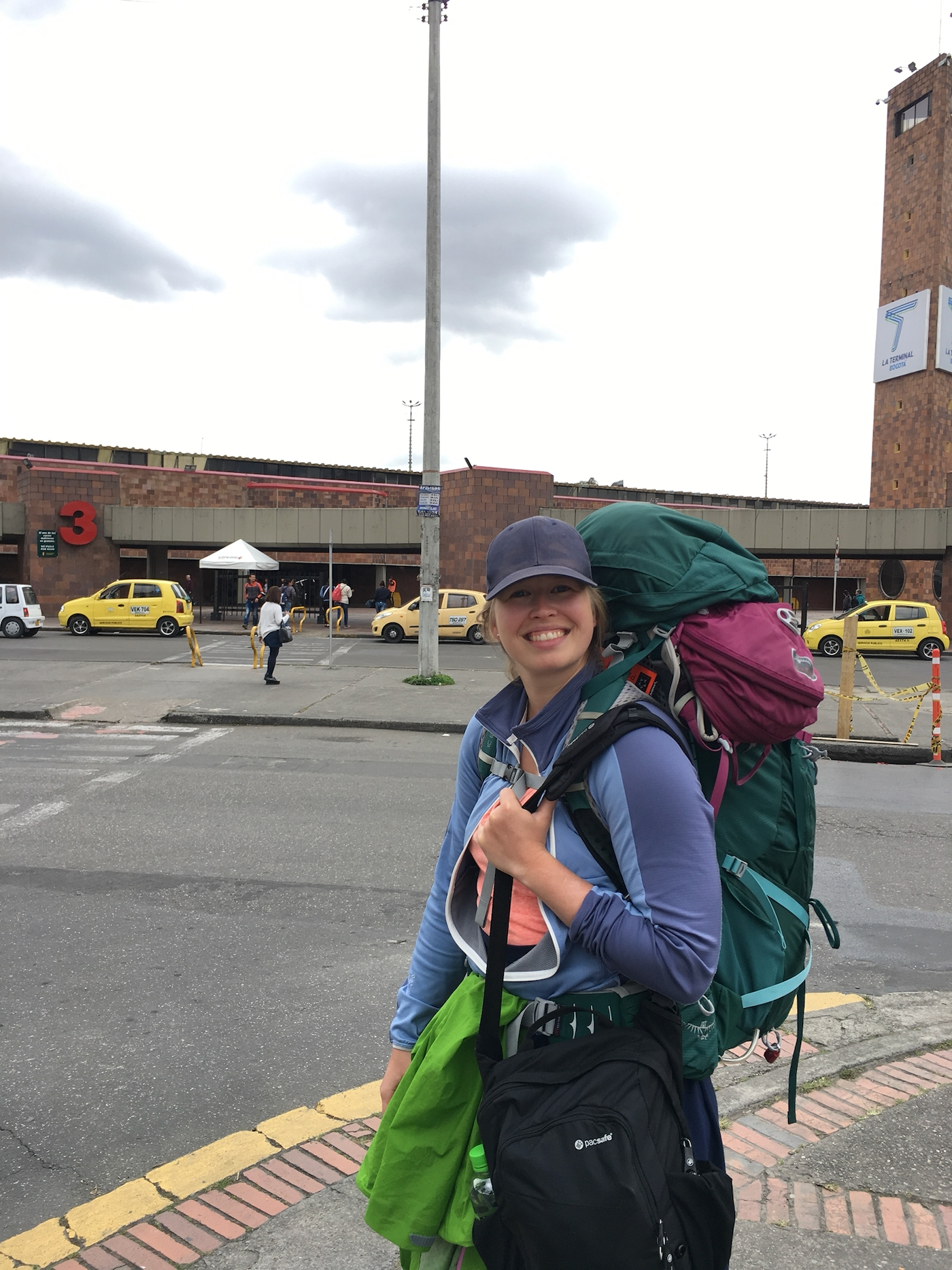 Ida with her backpack in Bogota, Colombia